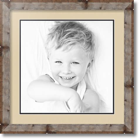 ArtToFrames Matted 18x18 Natural Picture Frame with 2