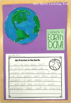 FREEBIE! - Earth Day promise writing and craftivity by