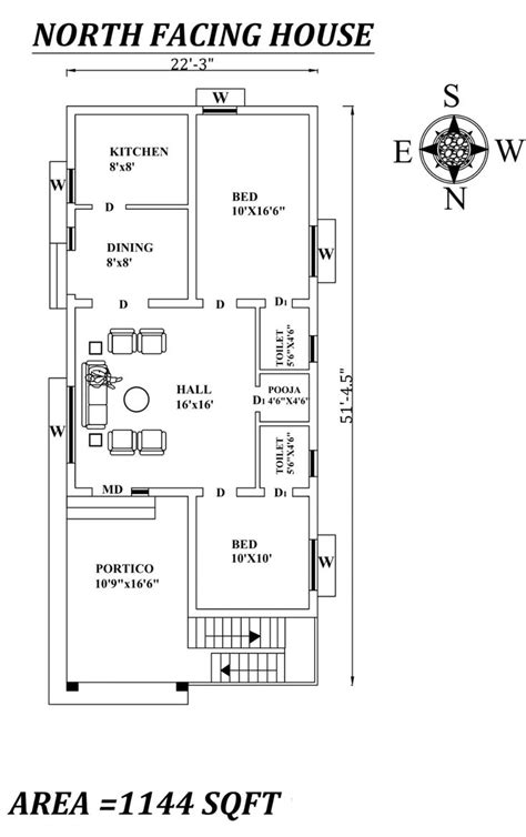 """22'3""""x51'5"""" Amazing North facing 2bhk house plan as per"""
