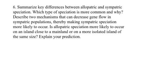 Solved: Summarize Key Differences Between Allopatric And S
