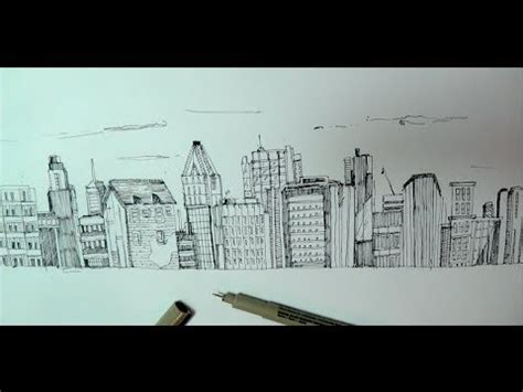 How to draw a panoramic city skyline or cityscape with