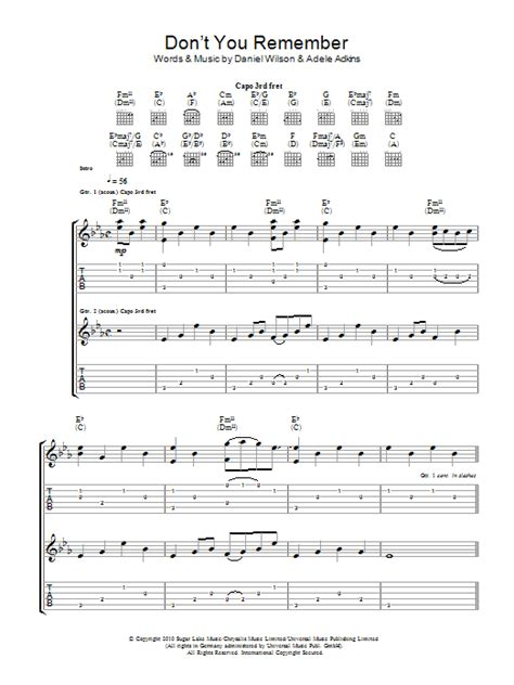 Don't You Remember   Sheet Music Direct