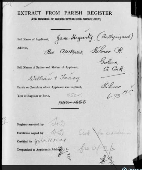 Pre 1922, Church of Ireland Pension Enquiry Forms, Bantry