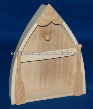 Hot Sale Boat Shape Small Unfinished Wooden Tray With Oars