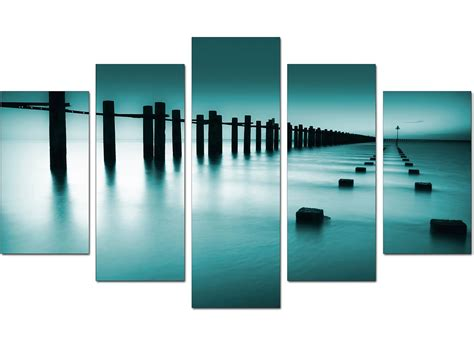 Extra Large Sea Canvas Wall Art Five Panel in Teal