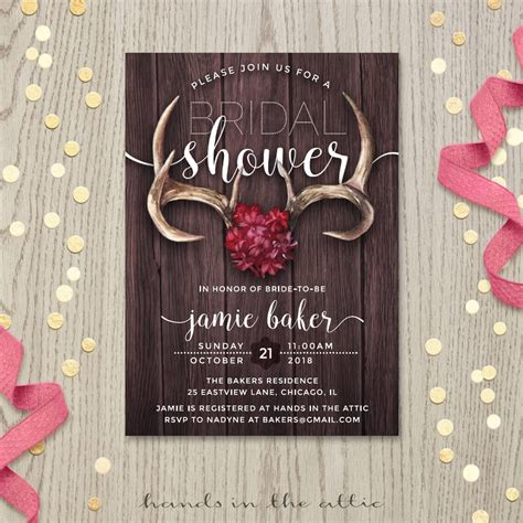 Rustic Antlers Bridal Shower Invitation   Hands in the Attic
