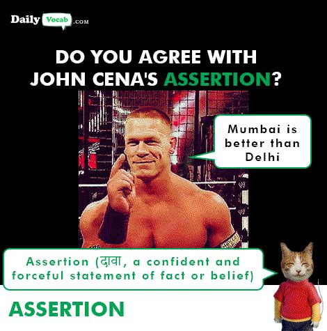 Assertion meaning in Hindi (हिंदी) *UPDATED 2020*